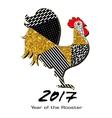 Rooster with gold tinsel and patterns made by hand vector image