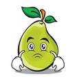 sad face pear character cartoon vector image vector image