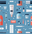 seamless pattern with pharmacy medications in vector image
