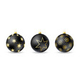 set black christmas balls with winter ornament vector image