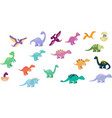 set cute dinos set funny cartoon dinosaurs vector image vector image