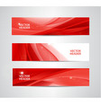 set of abstract silk wavy headers red vector image vector image