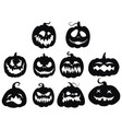 set pumpkins collection pumpkin faces for vector image
