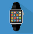 smart watch with icons and long shadow concept vector image