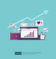 social media network and digital marketing vector image vector image