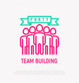 team building party thin line icon vector image