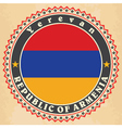 Vintage label cards of Armenia flag vector image vector image
