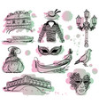 watercolor set venice sketch with paint drops vector image vector image