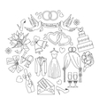 wedding outline icons set vector image