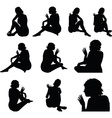woman silhouette with hand gesture hey vector image