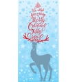 Holiday card with reindeer and handwritten vector image