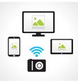 camera wi-fi connect computer smartphone tablet pc vector image