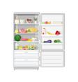 modern refrigerator with opened door full of vector image