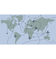airplanes traces over world map vector image vector image