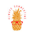 always summertime pineapple in sunglasses design vector image