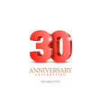 anniversary 30 red 3d numbers vector image vector image