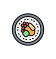 asian hot dish flat color line icon isolated on vector image vector image