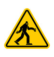 attention bigfoot caution yeti yellow triangle vector image vector image