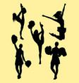 attractive dancer cheerleader silhouette vector image vector image