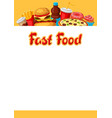 background with fast food meal tasty fastfood vector image vector image