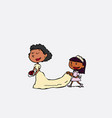 black bride arriving at the altar for her wedding vector image vector image