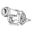 cartoon old antique wheeled artillery cannon vector image