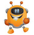 cheerful cartoon robot on white background vector image