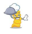 chef with food fusilli pasta mascot cartoon vector image vector image