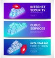 cloud services banners set vector image vector image