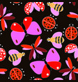 colorful flying insect pattern vector image