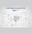 customer acquisition concept with business doodle vector image