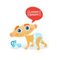 cute baby boy crawling toddler happy cartoon vector image vector image