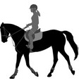 detailed silhouette young female riding vector image vector image