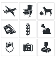 Drug trafficking icon set vector image vector image
