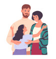 family young parents and daughters hugging vector image