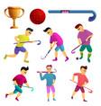 Field hockey icons set cartoon style