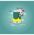 Flat elements with phone and rocket vector image