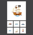 flat icon boat set of sailboat ship delivery and vector image vector image