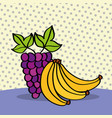 fresh grapes and bananas on dotted background vector image