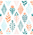 geometric seamless pattern with flower and plant vector image vector image