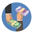 Hands holding money vector image