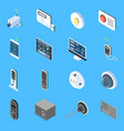 home security isometric icons vector image vector image