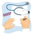 Male doctor filling in empty medical prescription vector image vector image