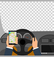 man using smartphone while driving the car vector image vector image