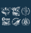 marine print set with seahorse starfish and boat vector image vector image