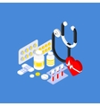 Medical Instruments and Pills Flat Isometric vector image vector image