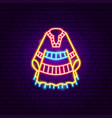 mexican poncho neon sign vector image