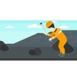 Miner working with pick vector image vector image