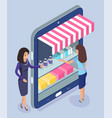 online shopping concept on mobile phone vector image