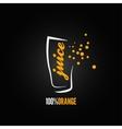orange juice splash glass design background vector image